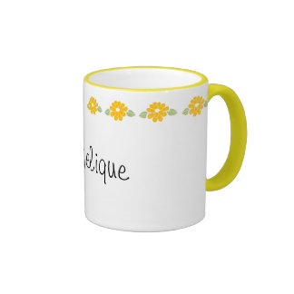 Angelique Name Yellow Flowers Coffee Mugs