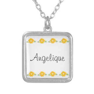 Angelique Name Yellow Flowers Silver Plated Necklace