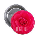 Angelique on a Pink Camellia Pinback Button