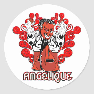 """Angelique, the Devil Made Me Do It!"" Stickers"