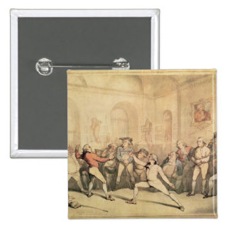 Angelo's Fencing Room, pub. 1787 2 Inch Square Button