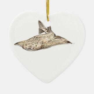 Angelote, shark angel ceramic ornament