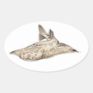 Angelote, shark angel oval sticker