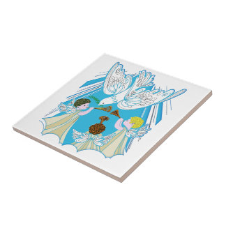 Angels and Dove of Peace Small Square Tile