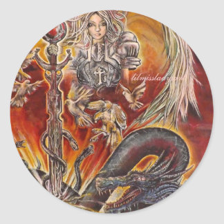 Angels and Dragons Classic Round Sticker
