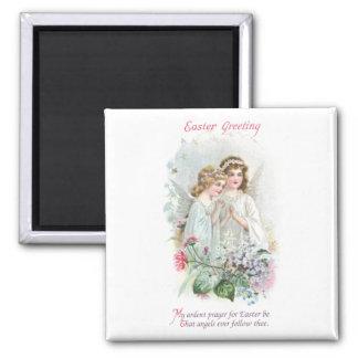 Angels and Flowers Vintage Easter Magnet