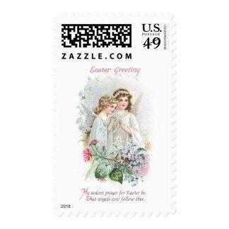 Angels and Flowers Vintage Easter Postage Stamp