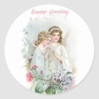 Angels and Flowers Vintage Easter Round Sticker