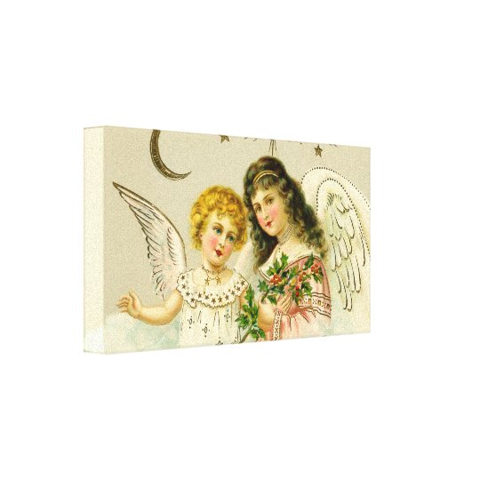 Angels and holly canvas print