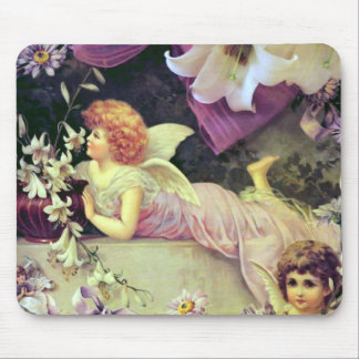 """Angels and Lilies"" Vintage Mouse Pad"