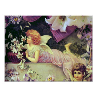 """""""Angels and Lilies"""" Vintage Poster"""