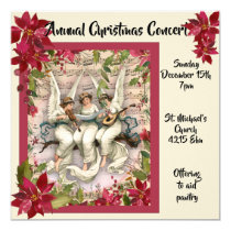 Angels and Poinsettia Christmas Concert Invitation