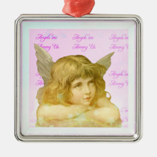 Angels are Among Us Pretty Girl Pink Angel Metal Ornament