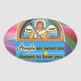 ANGELS ARE NEVER TOO FAR OVAL STICKER