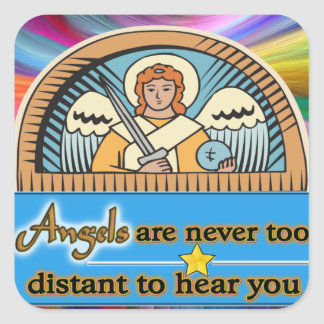 ANGELS ARE NEVER TOO FAR SQUARE STICKER