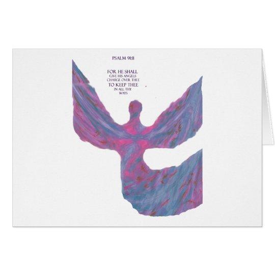 Angels art Pastel Colors bible verse Psalm 91:11 Card