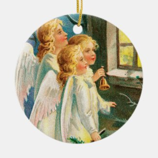 Angels at Window Vintage Style Holiday Ornament