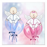 Angels Balloons Pink and Blue Reveal Personalized Announcements