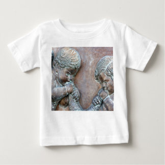 Angels blowing trumpets copper aged relief baby T-Shirt