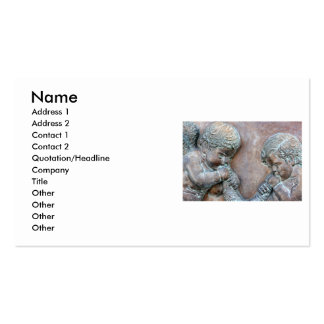 Angels blowing trumpets copper aged relief business card