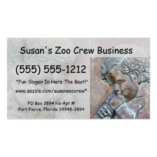 Angels blowing trumpets copper aged relief business cards