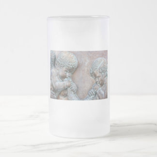 Angels blowing trumpets copper aged relief frosted glass beer mug