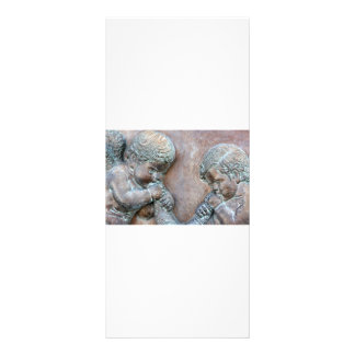 Angels blowing trumpets copper aged relief customized rack card