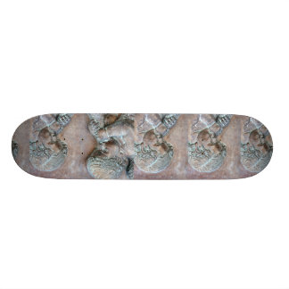 Angels blowing trumpets copper aged relief skateboard