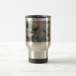 Angels blowing trumpets copper aged relief travel mug