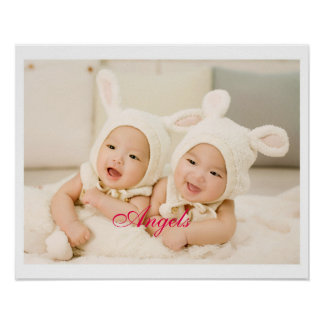 Angels Cute Twin Baby Sisters Poster