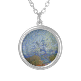 Angels descending to earth round pendant necklace