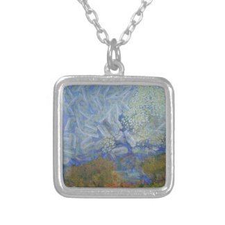 Angels descending to earth square pendant necklace