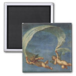 Angels Detail from Adonis Led by Cupids by Albani 2 Inch Square Magnet