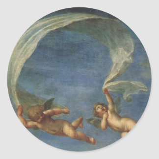 Angels Detail from Adonis Led by Cupids by Albani Classic Round Sticker