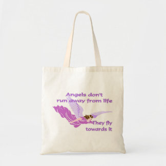 Angels don't run away from life tote bags