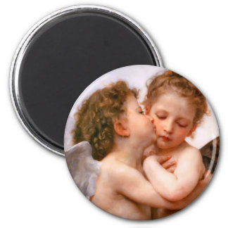 Angels First Kiss, Bouguereau 2 Inch Round Magnet
