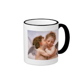 Angels First Kiss, Bouguereau Fine Art Ringer Mug
