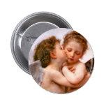 Angels First Kiss, Bouguereau Pinback Buttons