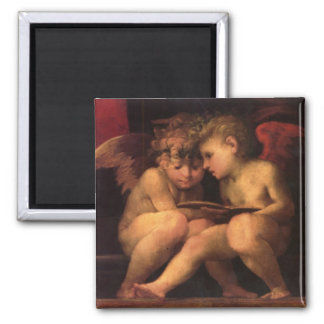 Angels from Madonna Enthroned by Fiorentino 2 Inch Square Magnet