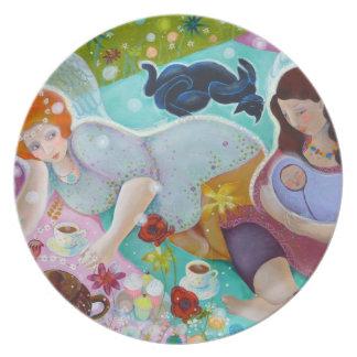 Angels Having A Cup Of Tea. Melamine Plate
