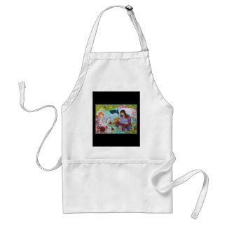 Angels Having A Cup Of Tea. On Black. Adult Apron