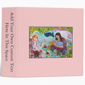 Angels Having A Cup Of Tea. On Pink. Custom Text. Binder