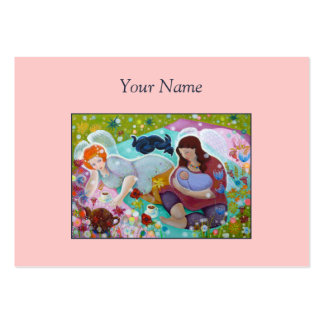 Angels Having A Cup Of Tea. On Pink. Custom Text. Business Card Template