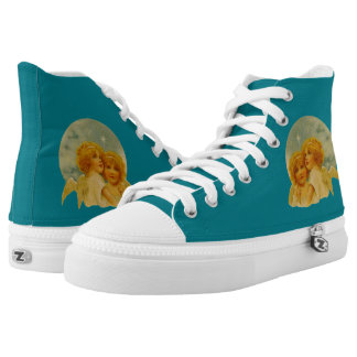 Angels High Top Shoes - Turquoise Printed Shoes