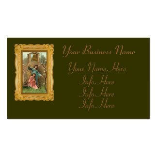 Angels In A Garden With Golden Bell Business Card Template