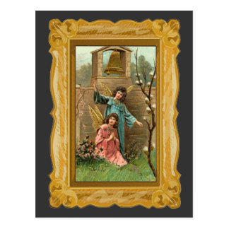 Angels In A Garden With Golden Bell Post Card