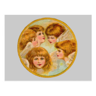Angels In A Gold Ring Circle Postcards