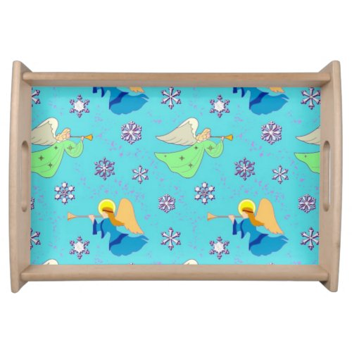 Angels in Blue, Delightful Snowflakes, Trumpets Serving Tray