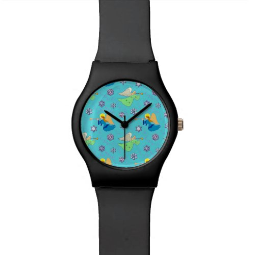 Angels in Blue, Delightful Snowflakes, Trumpets Wristwatch