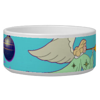 Angels in Blue – Ornaments & Trumpets Dog Food Bowl
